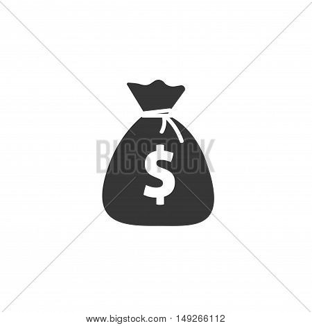 Money bag flat icon vector pictogram isolated, black and white sack with dollars, cartoon moneybag