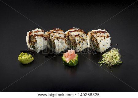 Small set of fresh Japanese food Uramaki sushi