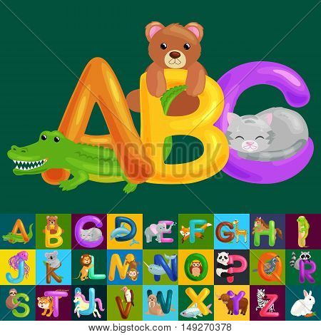 Abc animal letters for school or kindergarten children alphabet education isolated. Letters ABC for children alphabet learning book. ABC concept with animal toy for play in preschool reading