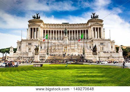 ROME ITALY - 2 APRIL 2016: Altar of the Fatherland (Altare della Patria) known as Vittoriano. Rome Italy Piazza Venezia.