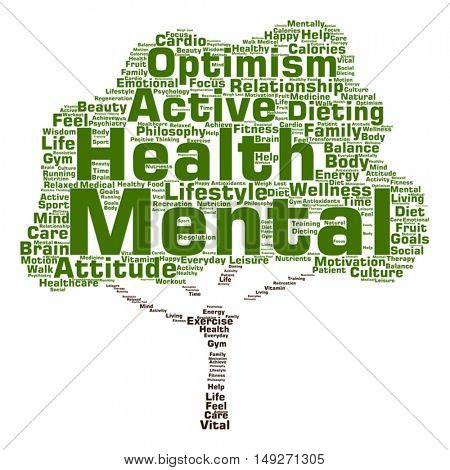 Vector concept or conceptual mental health or positive thinking tree word cloud isolated on background, metaphor to optimism, psychology, mind, healthcare, thinking, attitude, balance or motivation