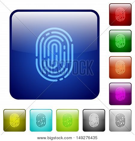 Set of fingerprint color glass rounded square buttons