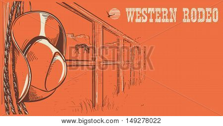 Western Rodeo Poster.american West Cowboy Hat And Lasso On Wood Fence.