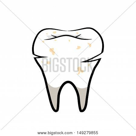 Decaying Tooth Cavity. A hand drawn vector illustration of a decaying tooth.
