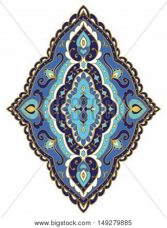Vector blue rhomboid element. Rich ornament with golden contour. Template for fabric wallpaper textile bedcover carpet. Design element.