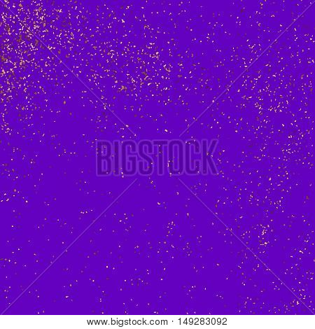 Gold glitter texture isolated on purple background. Violet gift wrap. Mauve holiday card. Golden explosion of confetti. Vector illustration,eps 10.