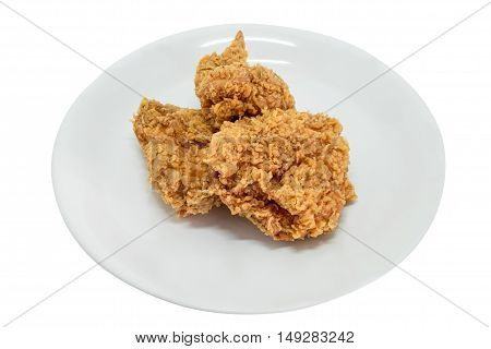 Fried chicken meal in plate isolated on white background.