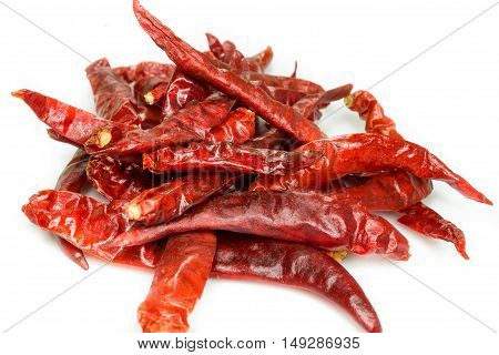 Dry red chili pepper on white background