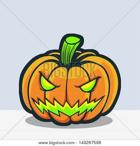 Halloween pumpkin with glowing green eyes drawing in vector