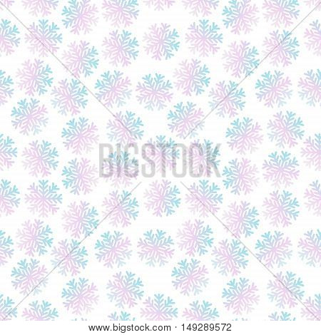 Vector Seamless Winter Simple Background With Snowflakes Pattern. Holography Effect