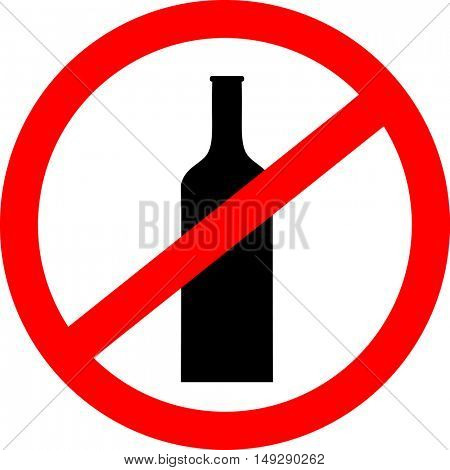 Prohibition sign icon. No drink with bottle. Vector illustration.