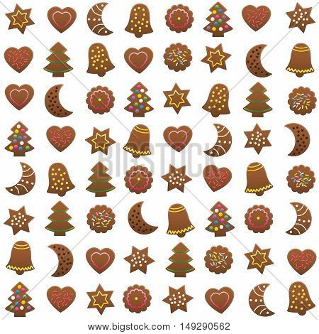 Gingerbread cookies xmas pattern - isolated vector illustration on white background.