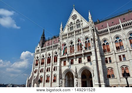 Hungarian Parliament in Budapest built in neogothic style at the end of 19th century (southern facade)