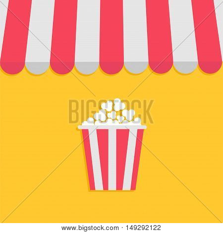 Striped store awning for shop marketplace cafe restaurant. Red white canopy roof. Popcorn box. Cinema icon. Flat design. Yellow background. Isolated. Vector illustration