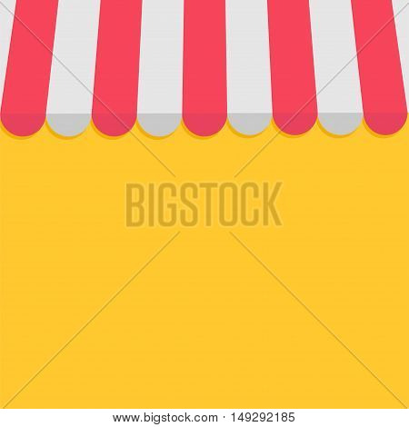 Striped store awning for shop marketplace cafe and restaurant. Red white canopy roof. Flat design. Yellow background. Isolated. Vector illustration