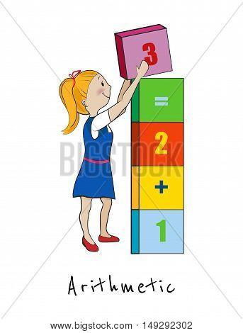 Mathematics, Arithmetic cartoon kid vector illustration, Child girl with number blocks