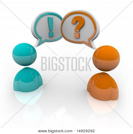 Two people with speech bubbles - one with a question mark and another with an exclamation point symbolizing the difference in opinion and viewpoints poster