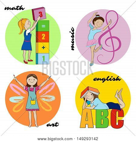 Set of cartoon school subjects vector round design illustrations, icons for english or reading, maths and art, music or dance