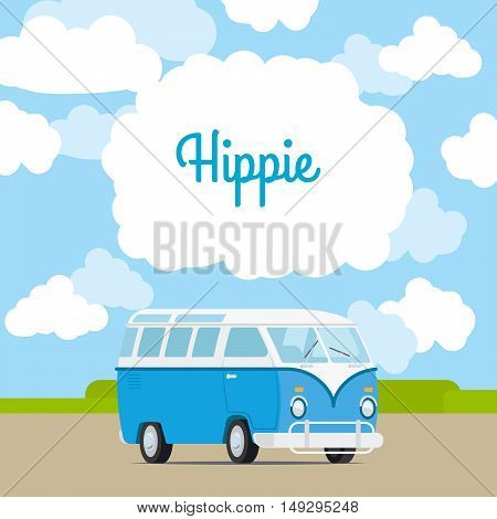 Template for advertising with hippie vintage mini van near sky. Vector illustration