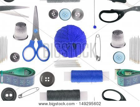 seamless background from different isolated sewing items