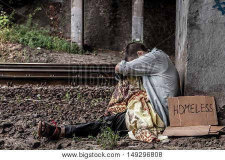 Poor Homeless Woman
