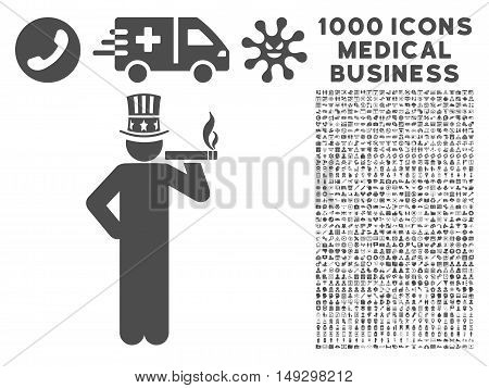 Gray Capitalist icon with 1000 medical business glyph pictographs. Set style is flat symbols, gray color, white background.