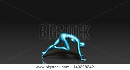 Yoga Class, the Knee to Nose Basic Pose Stance 3D Render