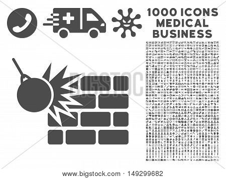 Gray Destruction icon with 1000 medical business glyph design elements. Set style is flat symbols, gray color, white background.