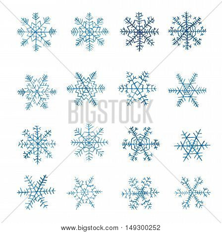 Set of watercolor snowflakes isolated on white background.