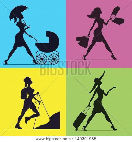 Silhouettes of women. Silhouette of a woman pushing a stroller. Woman with shopping bags. Woman-backpacker is climbing the steep slope. Woman with a suitcase