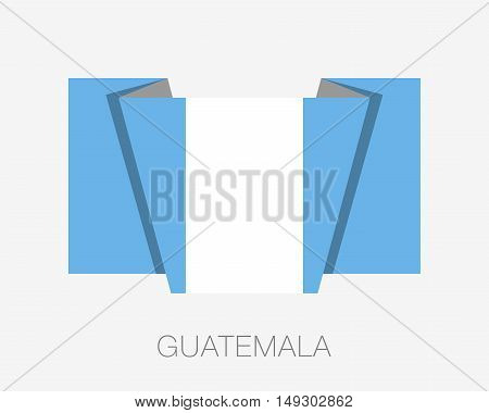 Flag Of Guatemala. Flat Icon Wavering Flag With Country Name