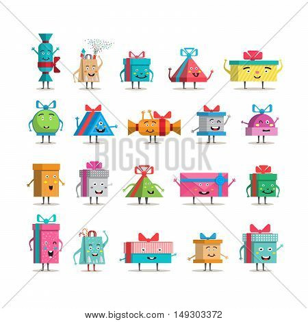Funny gift boxes characters cartoon with bows and ribbons vector big set isolated. Christmas, new year, holiday, birthday gift box set. Packaging with various paper decor