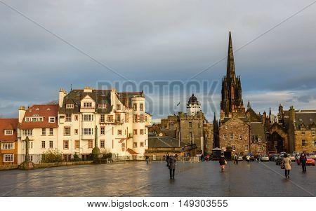 EDINBURGH, SCOTLAND - CIRCA NOVEMBER 2012: The Edinburgh Castle Esplanade