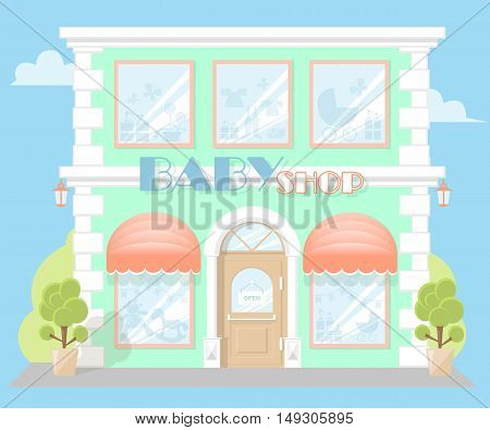 Facade baby shop with a signboard awning and silhouettes toys in shopwindow. Concept front store for design banner or brochure. image in a flat design. Vector illustration isolated on blue background