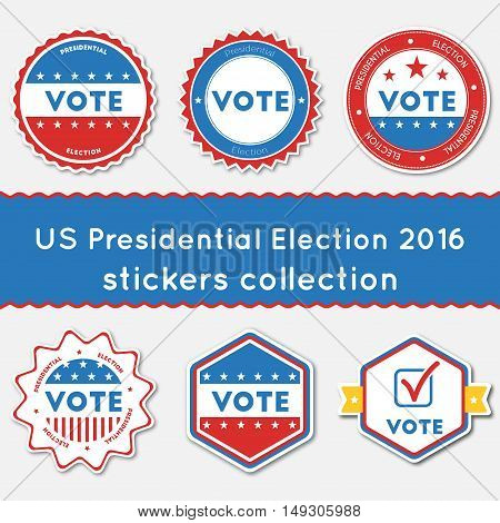 Us Presidential Election 2016 Stickers Collection. Buttons Set For Usa Presidential Elections 2016.