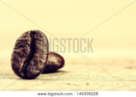 Roasted coffee beans on light background with copyspace. Macro shot