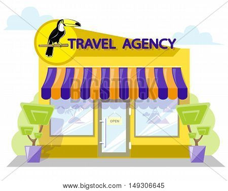 Facade travel agency. Signboard with emblem bird toucan awning and symbol in windows. Concept front shop for design banner or brochure. flat design. Vector illustration isolated on white background
