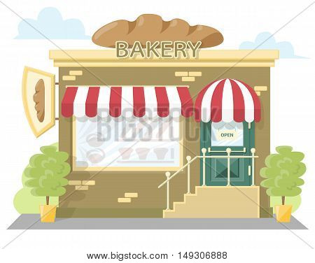 Facade bakery store. Signboard with emblem loaf bread awning and symbol in windows. Concept front shop for design banner or brochure. flat design. Vector illustration isolated on white background