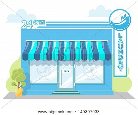Facade laundry. Signboard with emblem awning and symbol in windows. Concept front shop for design banner or brochure. Abstract image in a flat design. Vector illustration isolated on white background