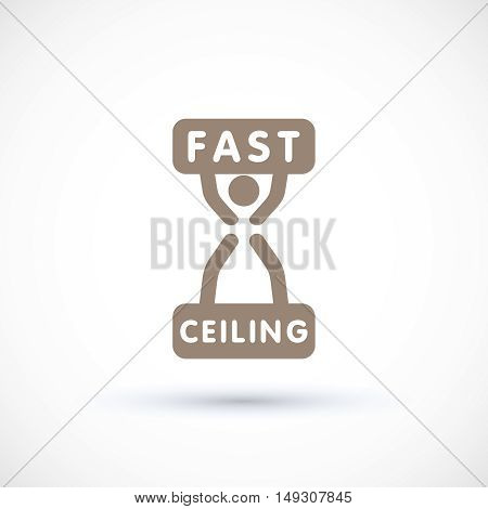 Logo concept hourglass clock symbol and worker suspended ceiling