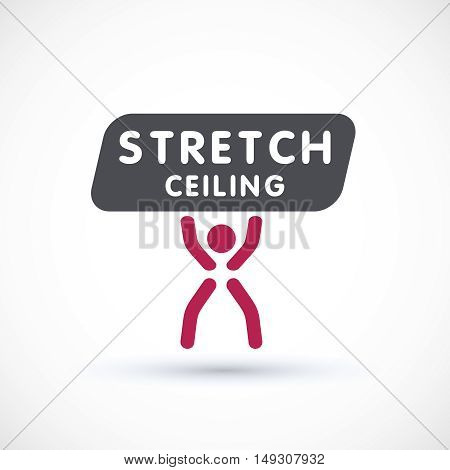 Stretch ceiling and worker logo concept vector symbol suspended ceiling