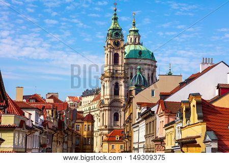 Old Street in Prague, downtown, The Town Belfry of St. Nicholas' Church, Praha, Europe