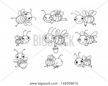 Set with cute cartoon bees. Hand drawing isolated objects on white background. Vector illustration. Coloring book
