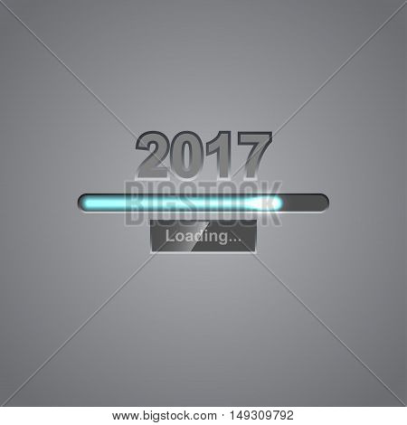 Neon progress bar showing loading of 2017 New Year. Vector background for New Year.
