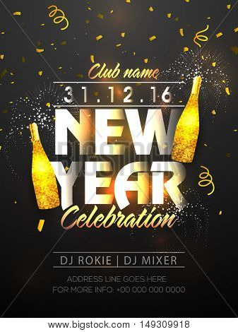 Happy New Year's Eve Party Celebration Poster, Invitation, Pamphlet or Flyer with golden champagne bottles.