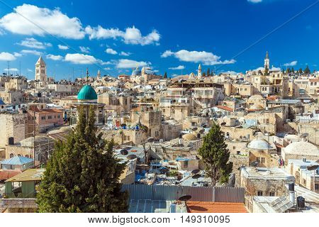 Roofs Of Old City With Holy Sepulcher Church Dome, Jerusalem