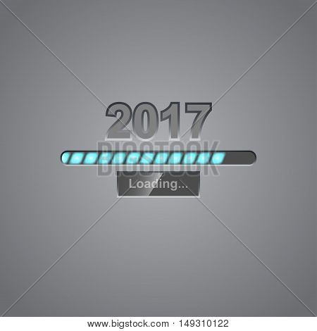 Concept for 2017 New Year with loading bar. Vector illustration.