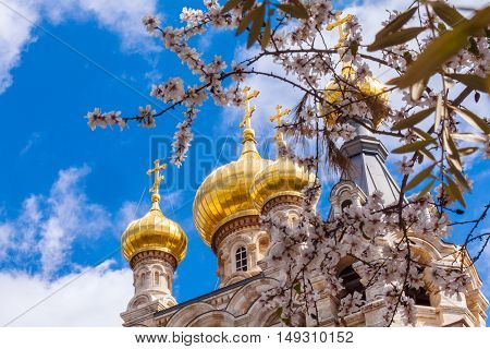 Easter View Of Mary Magdalene Convent With Almond Flowers, Jerusalem