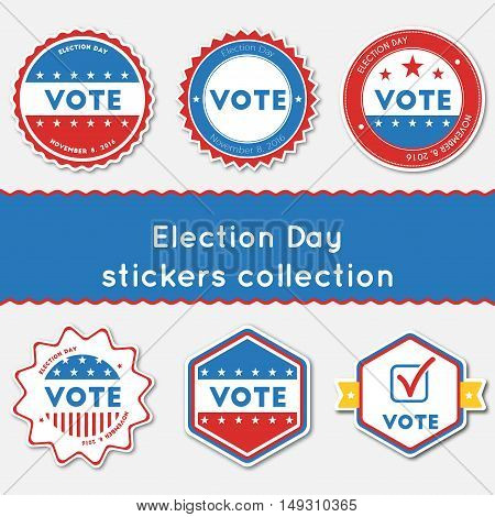 Election Day Stickers Collection. Buttons Set For Usa Presidential Elections 2016. Collection Of Blu