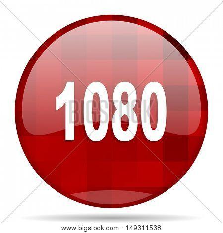 1080 red round glossy modern design web icon